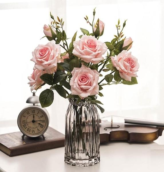 雪山玫瑰 仿真花多頭玫瑰花假花裝飾花綠葉客廳家居軟裝擺件 三支 童趣潮品
