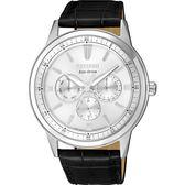 【台南 時代鐘錶 CITIZEN】星辰 光動能 三眼日期時尚腕錶 BU2071-01A 皮帶 銀/黑 44mm