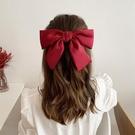 髮飾 2021年新款黑色大蝴蝶結髪夾女頂夾髪卡頭飾網紅髪繩紅色頭繩髪飾【快速出貨八折鉅惠】