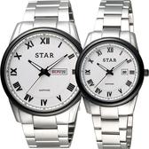 STAR 時代 羅馬城市時尚對錶/情侶手錶-白x黑框/43+32mm 1T1512-211S-W+1T1512-111S-W
