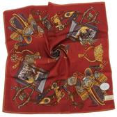 TRUSSARDI 皇家回憶錄混棉帕巾(紅色)989045-43