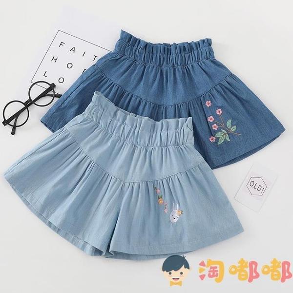 女童半身裙褲兒童牛仔裙子寶寶中大童百褶小短裙【淘嘟嘟】