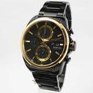 【萬年鐘錶】elegantsis  時尚三環 重機競速錶 黑x金 45mm ELJT42R-6B04MA