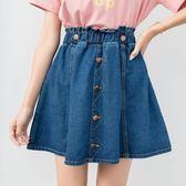 中大尺碼牛仔短裙 XL-5XL碼高腰胖mm夏裝大碼背帶牛仔蓬蓬顯瘦鬆緊腰傘裙 AW3788『愛尚生活館』