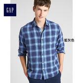 Gap男裝 基本款休閒格紋長袖襯衫 357515-藍灰色