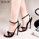 涼鞋 性感超高跟鞋14CM細跟漆皮系帶情趣鞋CD變裝 巴黎春天