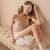 (八八折搶先購)白玫瑰性感睡衣女秋冬睫毛蕾絲?空誘惑吊帶睡裙前扣開襟情趣內衣