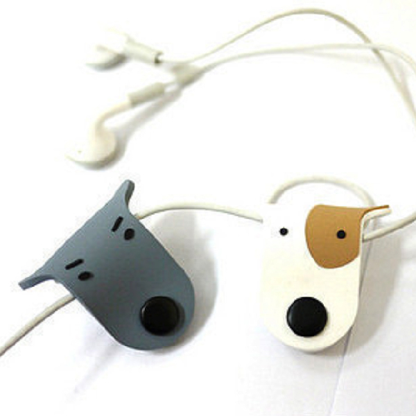 集線器 捲線器 集線器 繞線器 扣式 整線器 理線器 充電線收納 耳機收納 狗狗造型 整理 顏色隨機