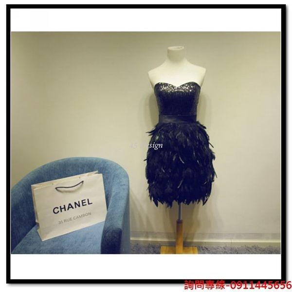 (45 Design) 訂做款式7天到貨 駝鳥毛禮服裙抹胸短款小禮服party裝