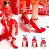 大尺碼新娘鞋 秀禾鞋婚鞋女新款紅色高跟鞋中跟細跟結婚紅鞋敬酒韓版OB2237『毛菇小象』