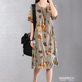 新款韓版小香風大碼亞棉麻印碎花寬鬆顯瘦連身裙子女夏中長款 凱斯盾