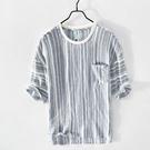 夏季小清新條紋圓領亞麻短袖T恤男士休大碼夏季寬鬆棉麻體恤衫 快速出貨