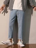 牛仔褲男秋季新款韓版潮流寬松休閑嘻哈老爹褲直筒闊腿男生長褲子