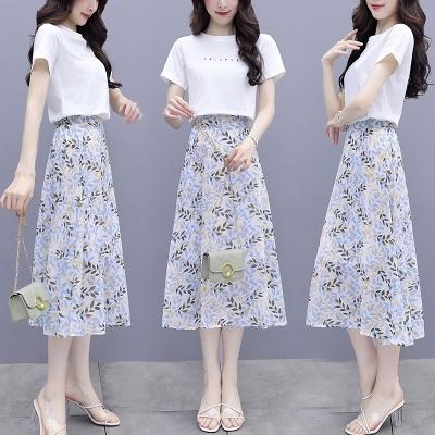 兩件套裝短袖小碎花半身裙女中長款百褶裙夏季復古a字顯瘦雪紡裙子薄H362快時尚