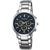 LICORNE 型男三眼計時手錶-黑x金時標/44mm LT135MWNI-K
