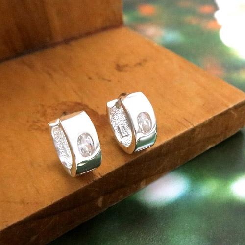 易扣/圈式耳環 單橢圓鋯方線圓形 易扣式 純銀耳環-64DESIGN
