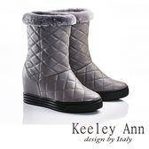 ★零碼出清★Keeley Ann 獨特暖冬~真皮紋格造型刷毛滾邊內增高筒靴(灰色)