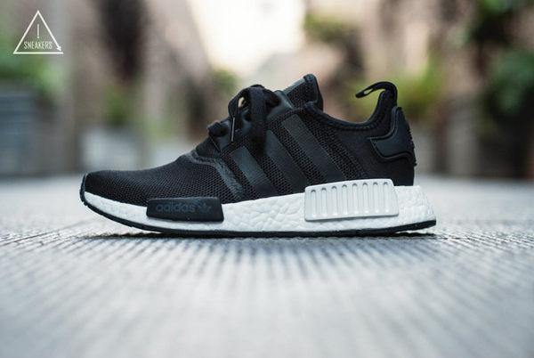ISNEAKERS ADIDAS NMD R1 J S80206 全黑 黑白色塊 慢跑鞋 女/大童鞋