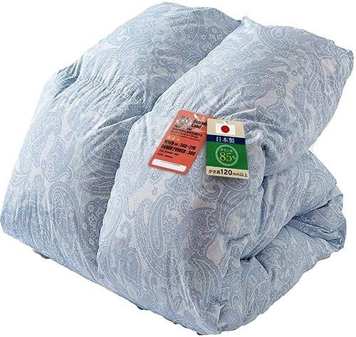 IRIS PLAZA【日本代購】羽絨被單人 白鴨絨85% CIL清洗抗菌防臭 日本製 - 佩斯利圖案 - 藍色