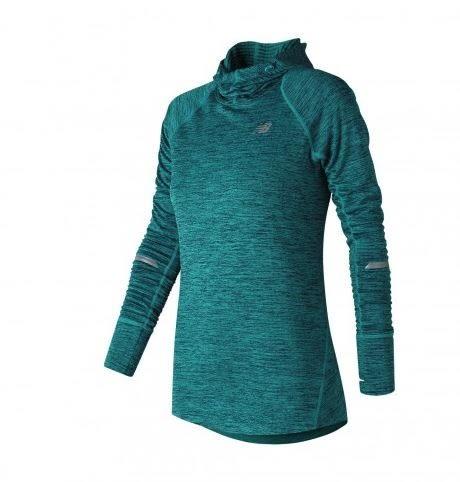 NEW BALANCE 女裝 連帽長袖 長版 刷毛 防風拇指孔 修身 藍綠 【運動世界】 WT73220PIH