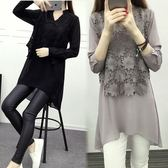 大尺碼洋裝   雪紡衫新款長袖上衣拼接V領t恤裙中長款連身裙
