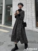 碎花洋裝 氣質抽繩收腰長袖連身裙女2021新款秋冬內里加絨加厚半高領碎花裙 晶彩生活