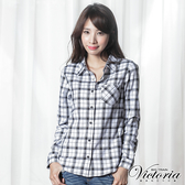 Victoria 格紋基本長袖襯衫-女-白底黑格-Y1500280