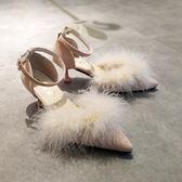 帶毛毛鞋秋貓跟女單鞋一字扣帶性感尖頭中跟細跟高跟鞋真毛5cm   西城故事