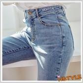 牛仔褲 刺繡彈性牛仔窄管長褲YK9060-創翊韓都
