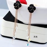 耳環 玫瑰金 925純銀水晶-玫瑰花流蘇生日情人節禮物女飾品2色73gs173【時尚巴黎】