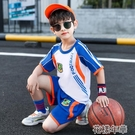 男童套裝男童夏裝運動套裝新款足藍球服中大童洋帥氣兒童速幹衣夏季潮 快速出貨