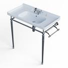 【麗室衛浴】美式古典 C-197 方型一體盆加不鏽鋼腳柱盆60* 46公分