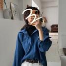 藍色襯衫女設計感小眾新款春秋季網紅寬鬆百搭長袖假兩件上衣 【全館免運】