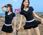 草魚妹-G296泳衣短袖美純連身泳衣游泳衣泳裝比基尼加大泳衣正品,售價980元