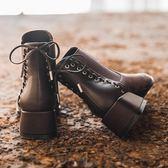 短靴女2019新款秋冬學生百搭網紅粗跟中跟短筒加絨馬丁瘦瘦靴ins