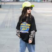 *╮S13小衣衫╭*中大童中性潮流風拼接格紋長袖寬鬆T恤1080966