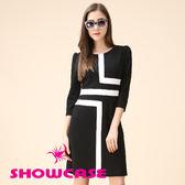 【SHOWCASE】時尚簡約幾何線條剪接修身短袖洋裝(黑)
