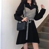 洋裝秋裝2020新款輕熟風設計感小眾假兩件收腰顯瘦氣質長袖洋裝女裝 阿卡娜