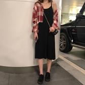 韓版秋季新款打底針織裙無袖背心裙黑色吊帶連身裙女