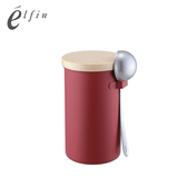 【日本高桑elfin】不鏽鋼限定色咖啡密封儲物罐附咖啡杓-200g-紅色