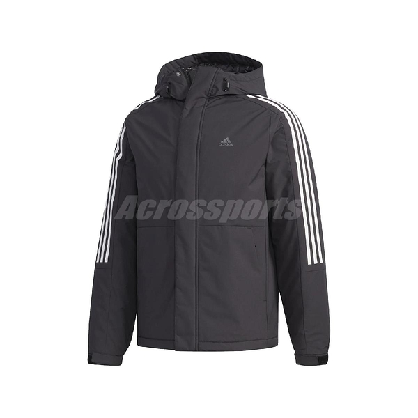 adidas 外套 3 Stripes Down Jacket 黑 白 男款 羽絨外套 連帽 【PUMP306】 EH3995