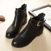 丁果、大尺碼女鞋34-43►優雅英倫風尖頭後拉鍊好穿低跟短靴子*2色