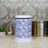 高檔歐式垃圾桶家用客廳時尚腳踏式(青花瓷手開垃圾桶)
