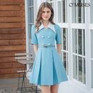 OMUSES V領簡約宴會藍色短洋裝