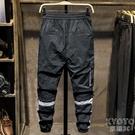 夏季冰絲速干運動褲男休閒褲男薄款綁帶口袋鬆緊束腳綁帶工裝褲子 快速出貨