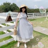 蘿莉裝智熏裙法式桔梗裙新款復古很仙的高腰學生刺繡拼接花邊洋裝子夏 NMS蘿莉小腳丫
