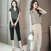 職業OL女裝 2020新款韓版時尚休閒套裝女法式條紋短袖氣質七分褲網紅兩件套 3C數位百貨