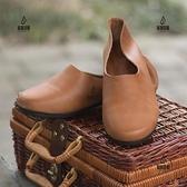 單鞋女士復古軟底軟皮頭層牛皮圓頭平底禪意一腳蹬奶奶鞋【愛物及屋】
