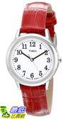 [105美國直購] Timex WoMens 女士手錶 TW2P687009J Easy Reader Silver-Tone Watch with Red Leather Band