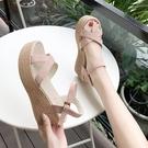 厚底涼鞋 坡跟涼鞋女粗跟夏季2020新款韓版性感一字帶羅馬厚底防水臺高跟鞋